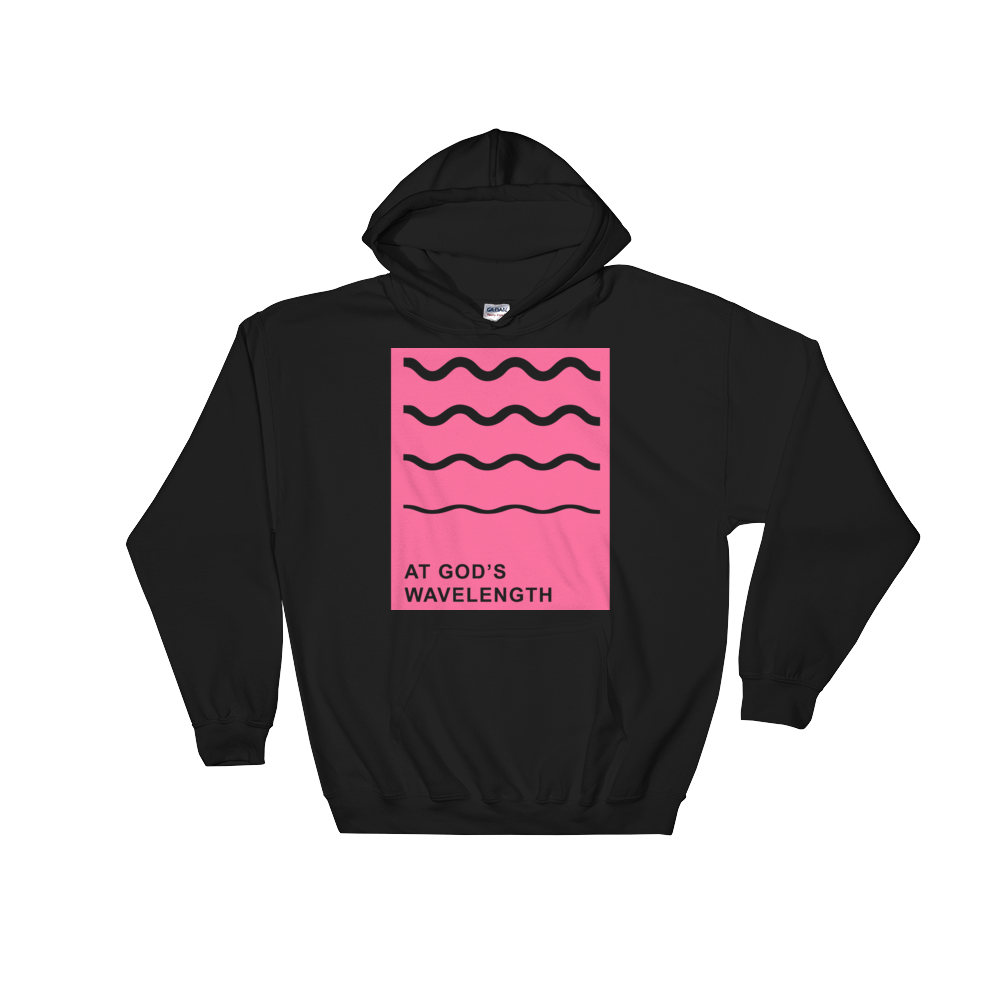 At God's Wavelength Pink Print on Black Hoodie