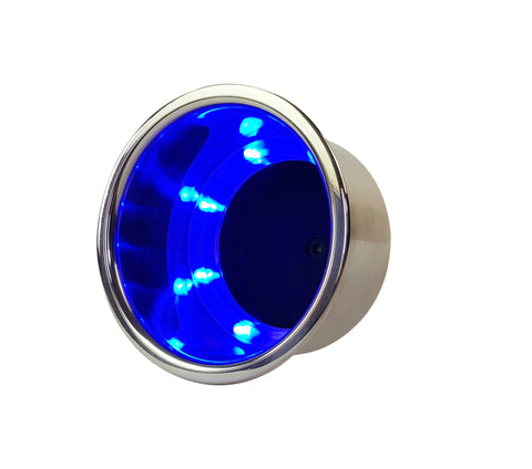 Drink Holder Blue LED Polished Recessed