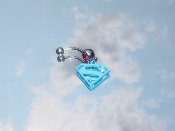 Baby Blue Superman Logo Belly Ring