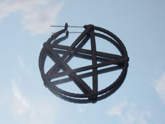 Surgical Steel Matte Black Pentagram Plug Hoop