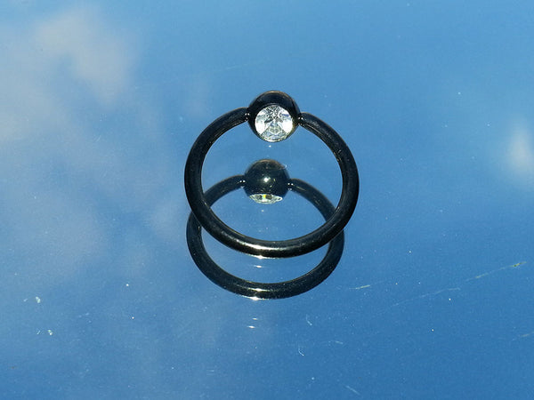 Black Titanium Plated Surgical Steel Captive Bead Ring