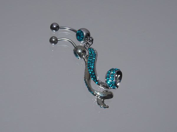 Surgical Steel Dangling Pave Belly Ring