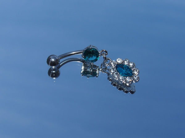 Surgical Steel Victorian Oval Gem Cluster Belly Ring