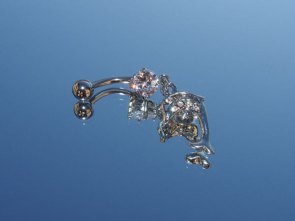 Surgical Steel Dangling Dolphin Belly Ring