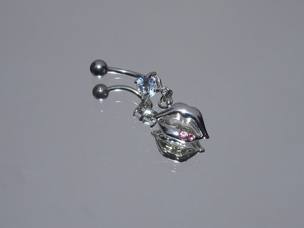 Surgical Steel Dangling Lips Belly Ring