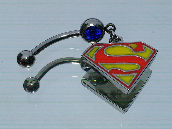 Dangling Superman Logo Surgical Steel Belly Ring