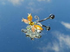 Surgical Steel Amber Butterfly Belly Ring
