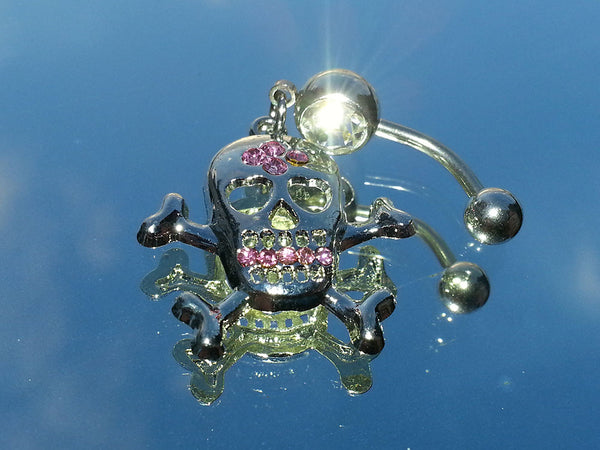 Surgical Steel Dangling Gemmed Skull Belly Ring
