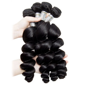 Loose Wave Bundle With Frontal Human Hair - faveux-fashion