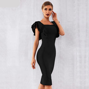 Ruffles Butterfly Sleeve Bodycon Dress - faveux-fashion