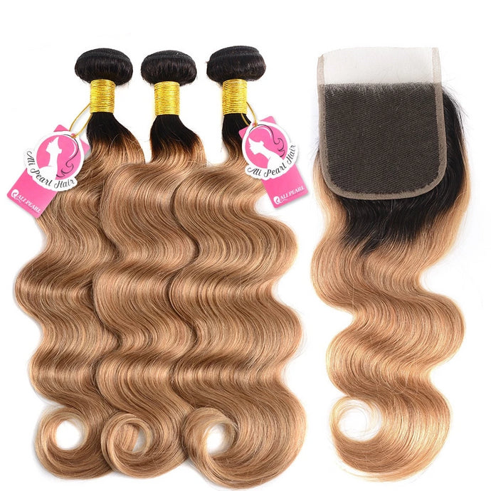 Brazilian Body Wave Ombre Hair Human Hair Bundles With Closure - faveux-fashion