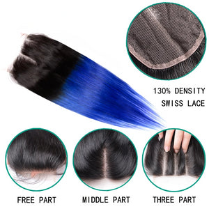Ombre Two Tone Human Hair Brazilian Straight Hair 3 Bundles Pack With Closure - faveux-fashion