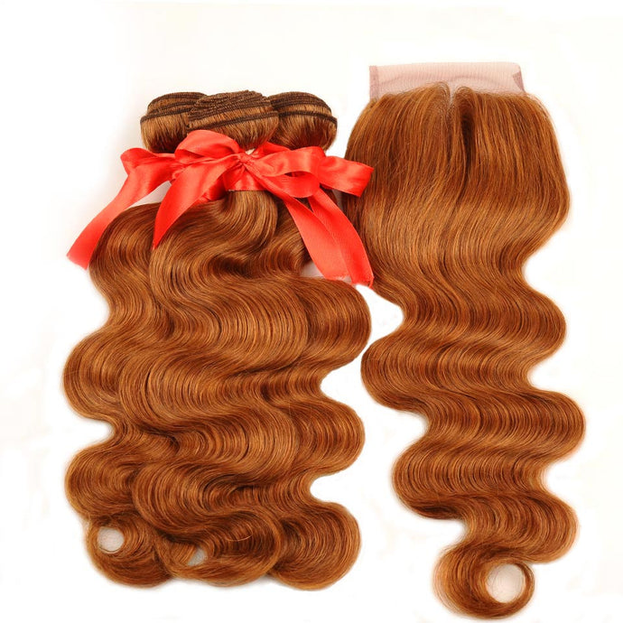 Honey Blonde Bundles With Closure Body Wave Peruvian Human Hair - faveux-fashion