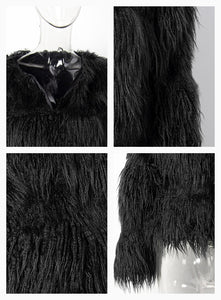 BLACK Faux Fur Stripes Coat