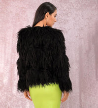 Load image into Gallery viewer, BLACK Faux Fur Stripes Coat