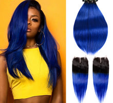 Load image into Gallery viewer, Ombre Two Tone Human Hair Brazilian Straight Hair 3 Bundles Pack With Closure - faveux-fashion