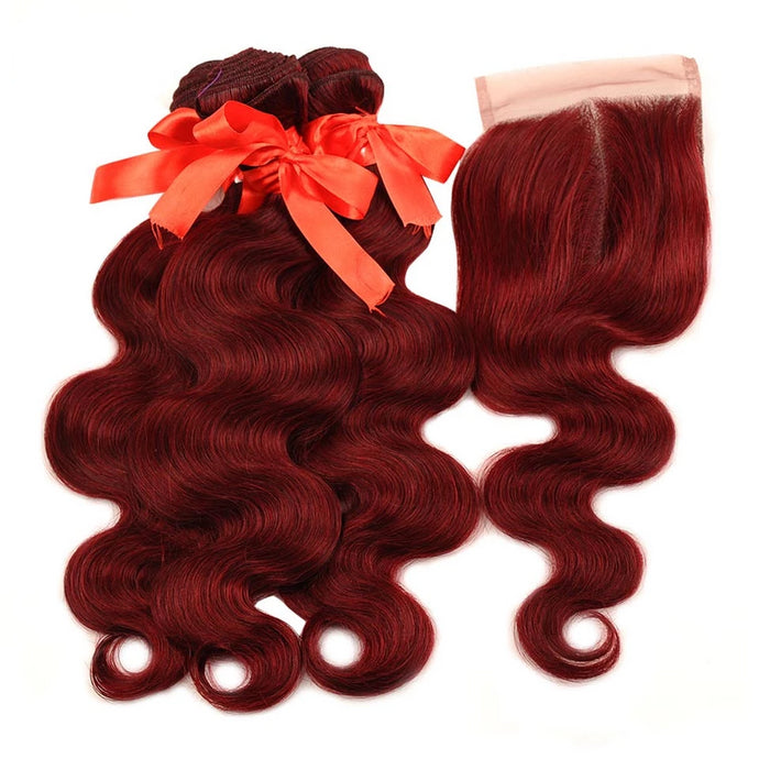 Red 99J Burgundy Bundles With Closure Brazilian Body Wave - faveux-fashion