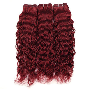 Burgundy Bundles Red Peruvian Water Wave Hair - faveux-fashion