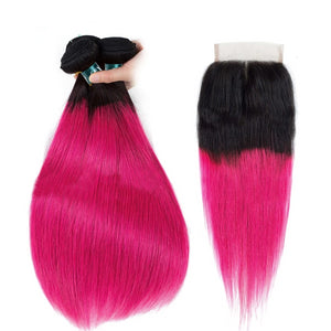 Dark Roots Rose Pink Ombre Brazilian Straight Hair With Lace Closure - faveux-fashion