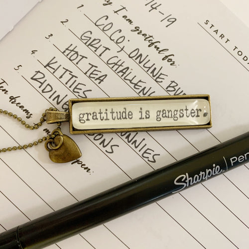 Gratitude is Gangster Typewriter Necklace