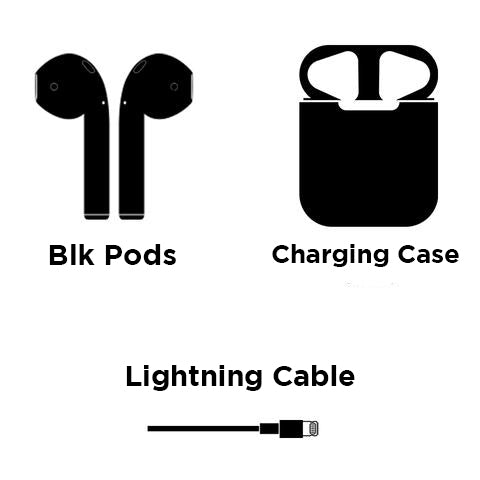 Blk Pods Wireless Bluetooth Earphones, Black Earbuds For iPhone & Android, black airpods, airpods, earpods, custom airpods, headphones, earbuds, earphones, wireless airpods, new air plus, newairplus, onyxpods, onyx pods, blvck noir, blxcksweden, blxck sweden