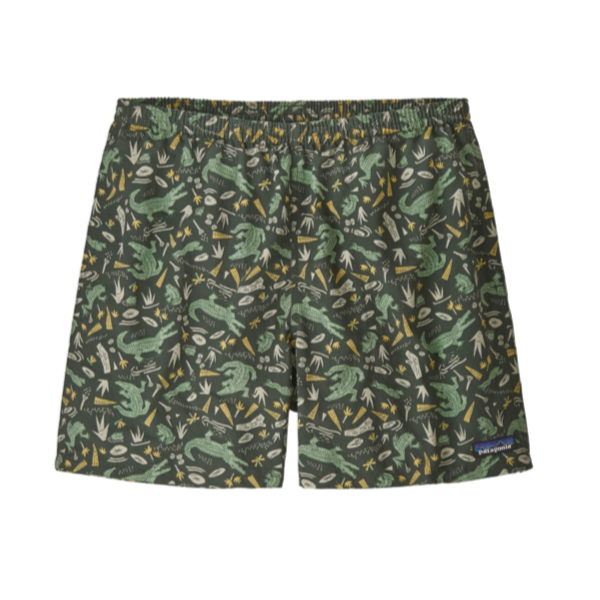 Mens Baggies Shorts - 5Inch - Alligators and Bullfrogs - Kale Green