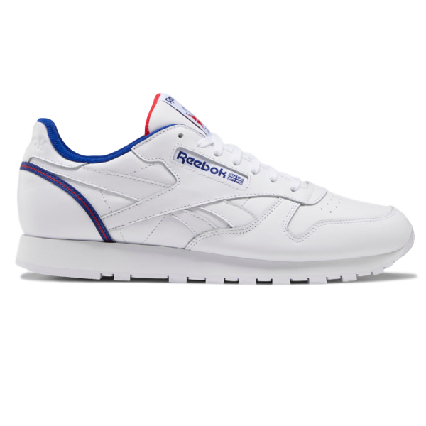 CLASSIC LEATHER SHOES WHITE / DEEP COBALT / VECTOR RED
