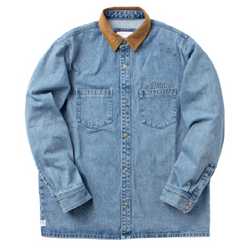 Lambeau Denim Overshirt light denim /  cognac