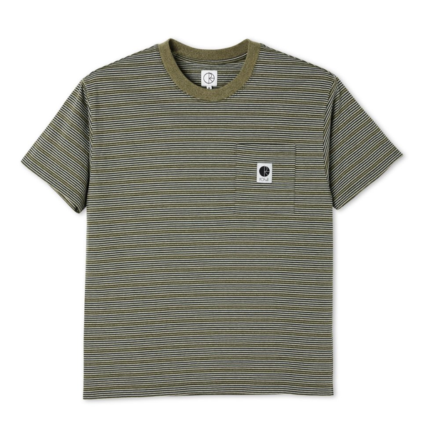 STRIPE POCKET TEE - ARMY GREEN