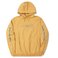 Classic Outline Logo Paneled Embroidered Hoodie - Mustard