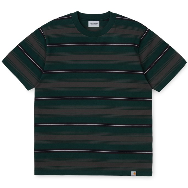 S/S BUREN T-SHIRT STRIPE BOTTLE GREEN