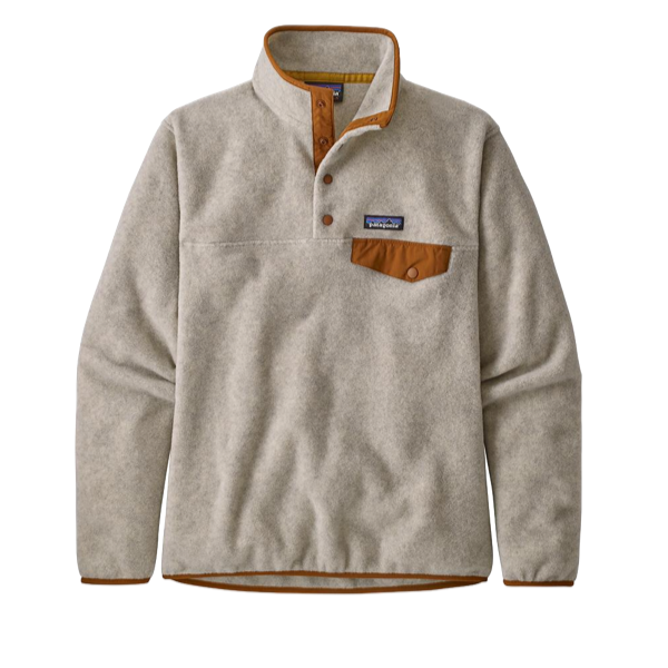 Patagonia Women's Light Weight Synch Snap-T Pull Over - Oatmeal Heather W/Wood Brown