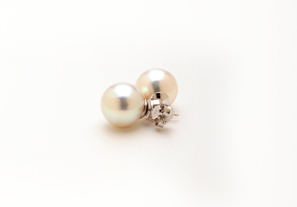 Large White South Sea Ear Studs