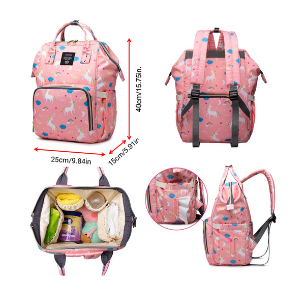 Rainbow Collection Unicorn Baby Care Diaper Bag Backpack 1