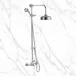 "Butler Mill and Brassworks 1/2"" Exposed Thermostatic Shower System with 8"" Shower Head, Diverter, Metal Hand Shower, and Lever Handles"