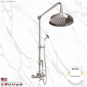 "Butler Mill and Brassworks 3/4"" Exposed Thermostatic Shower System with 12"" Shower Head, Diverter, and Ceramic Handheld Shower with Ceramic Cross Handles"