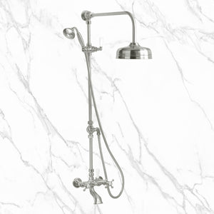 "Coventry Brassworks 1/2"" Exposed Two Valve Tub and Shower System with Built In Diverter, Hand Shower, and 8"" Head"
