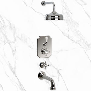 "Coventry Brassworks Concealed Thermostatic System with 12"" Shower Head and Wall Mount Tub Spout with Cross Handle"