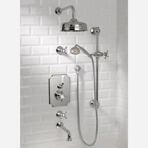 "Coventry Brassworks Concealed Thermostatic System with 12"" Shower Head, 24"" Slide Bar, Standard Hand Shower, Tub Spout, Shut Offs with Cross Handle"