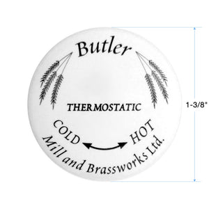 "Butler Mill and Brassworks Ceramic Button 1-3/8"" for 3/4"" Thermostatic Cross Handle Temperature Control (No Metal Ring)"
