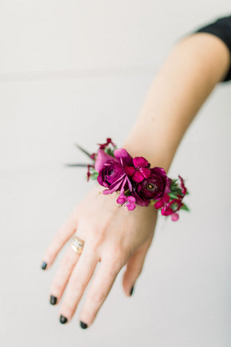 Wrist Cuff - Jeweled Berry