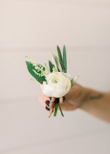 Boutonniere - White Out - Floral