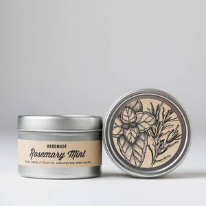 Rosemary Mint : Travel Tin Candle