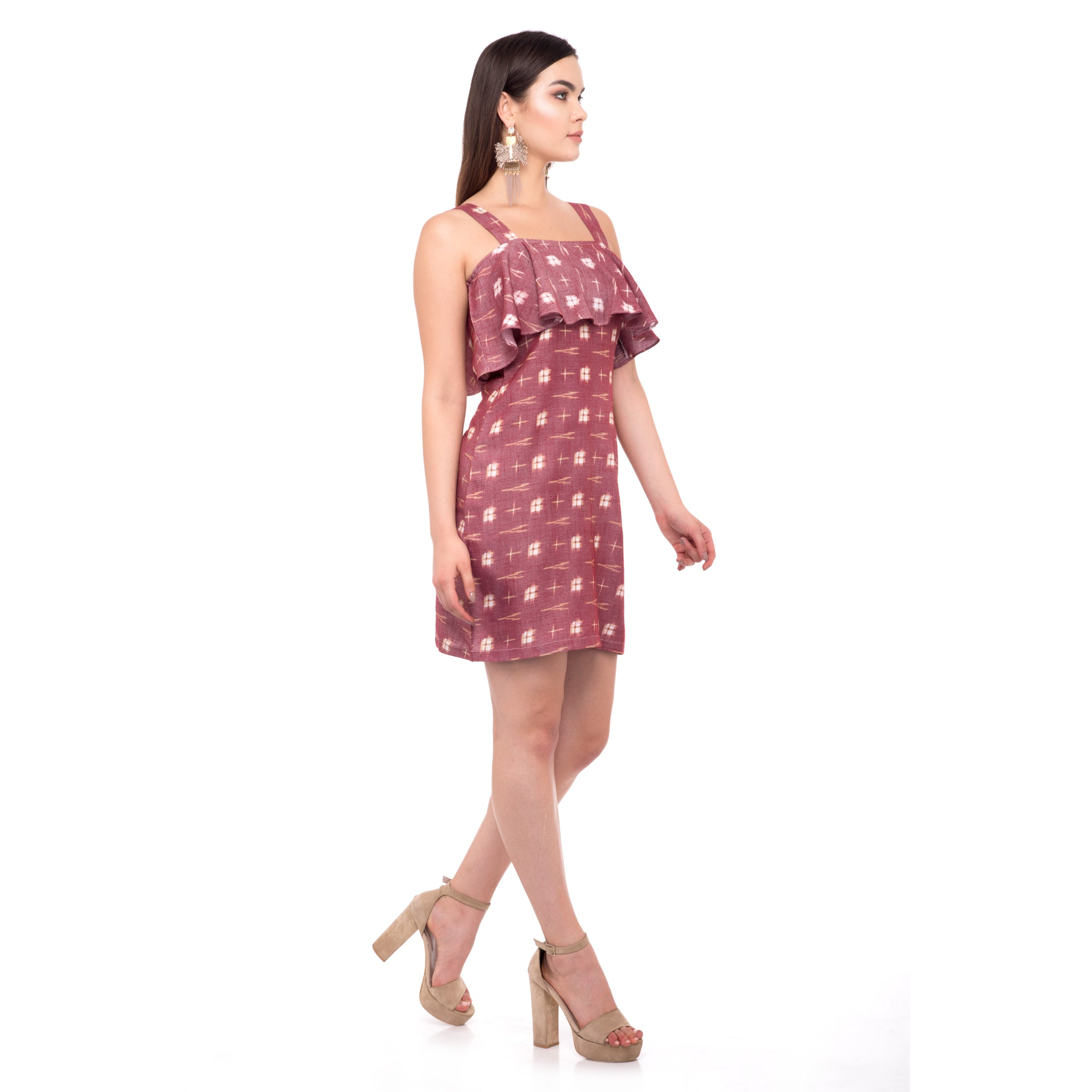 MAROON BIG MOTIFS DRESS