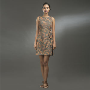 BROWN FLORAL DRESS - Zomo