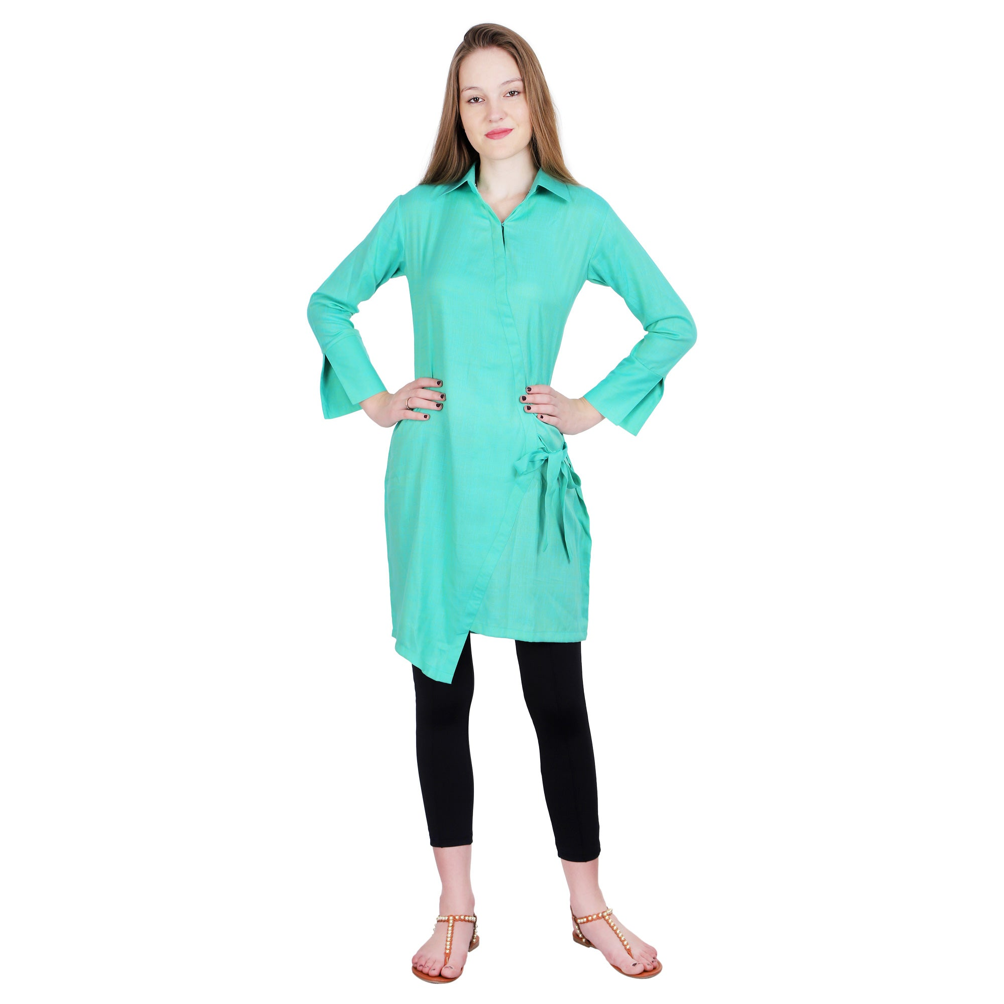 GREEN SOLID SHORT KURTI - Zomo