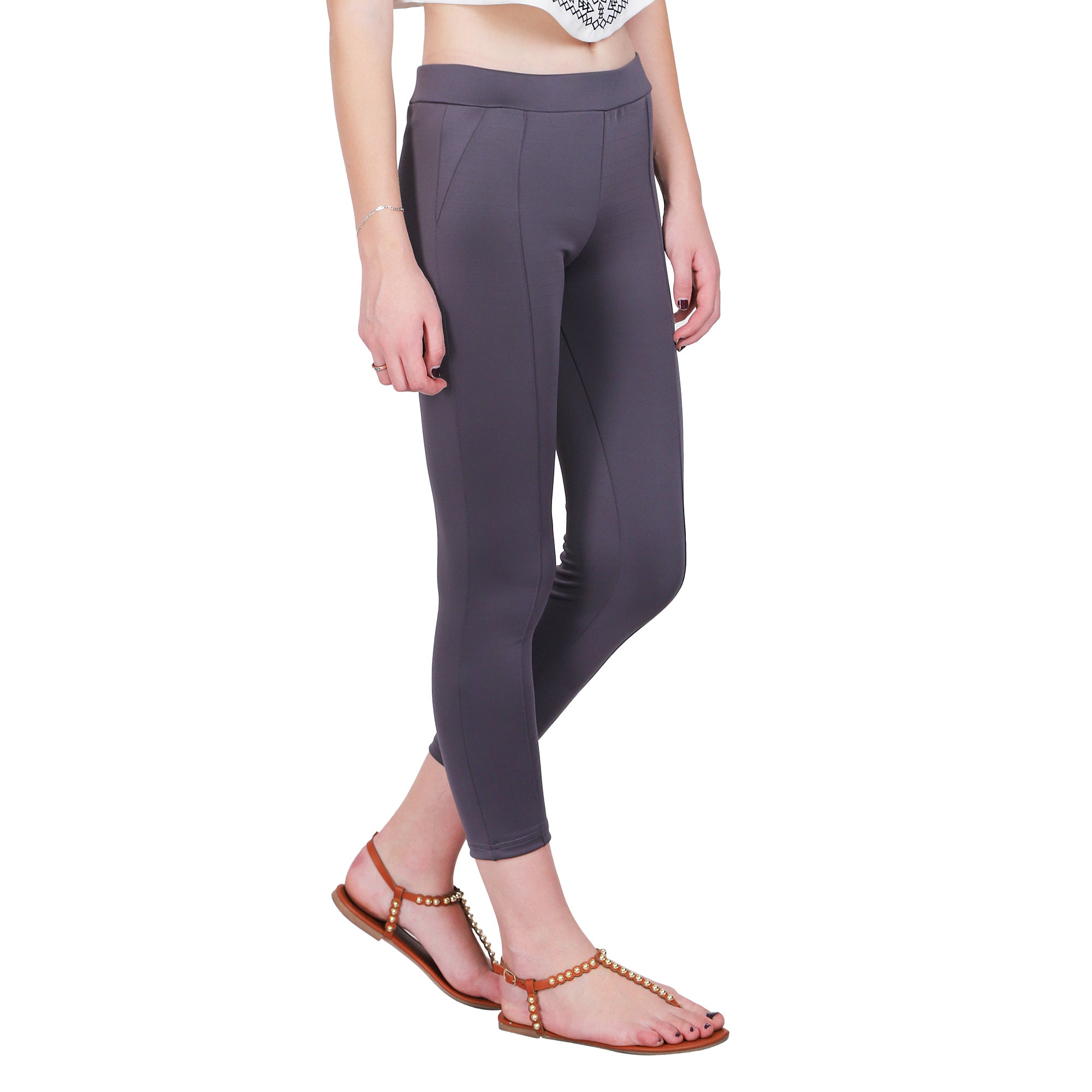 GREY SOLID JEGGINGS - Zomo