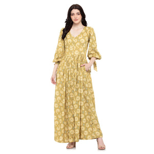 BALLOON SLEEVES MUSTARD MAXI DRESS - ZOMO