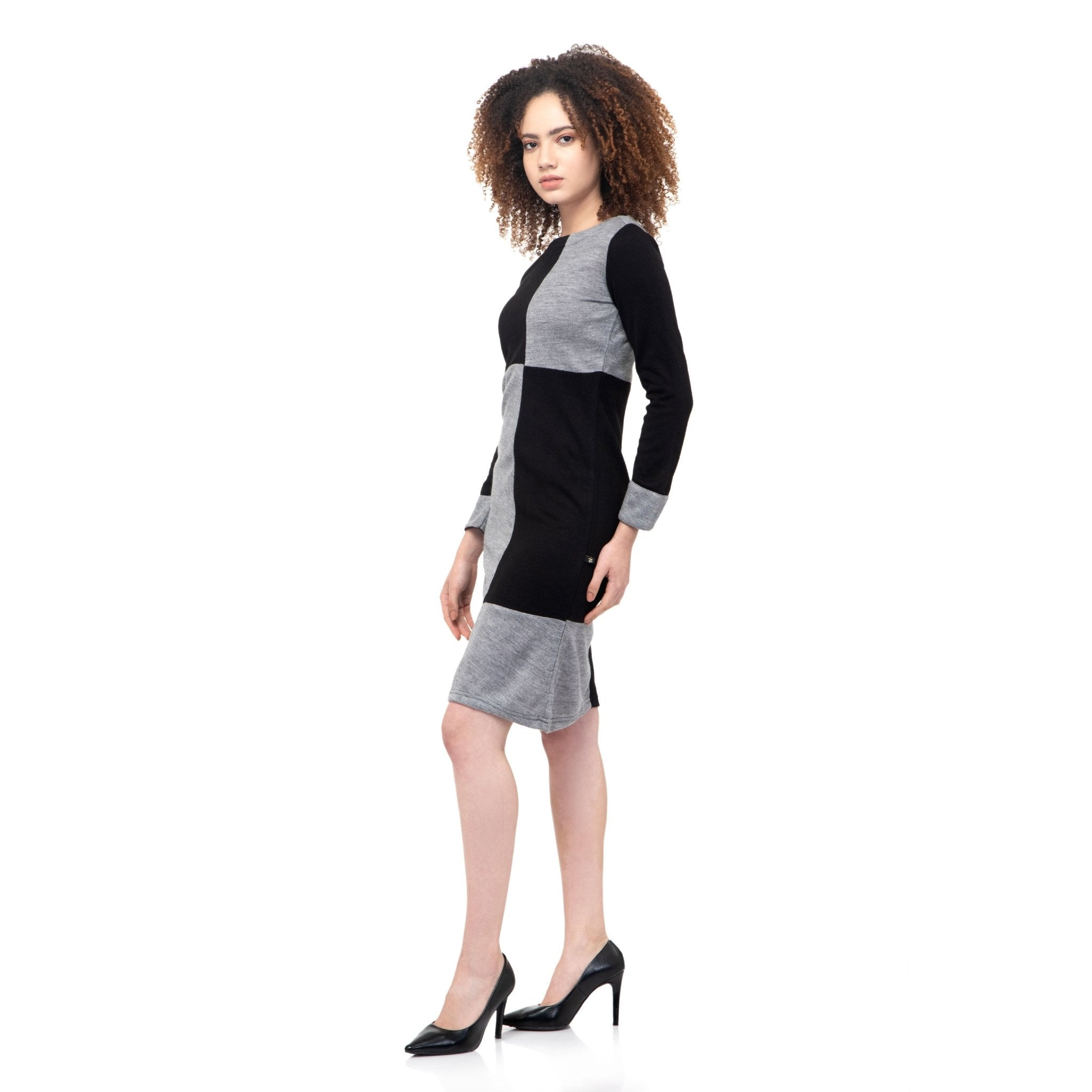 BLACK & GREY COLOR BLOCK WOOLEN DRESS - ZOMO