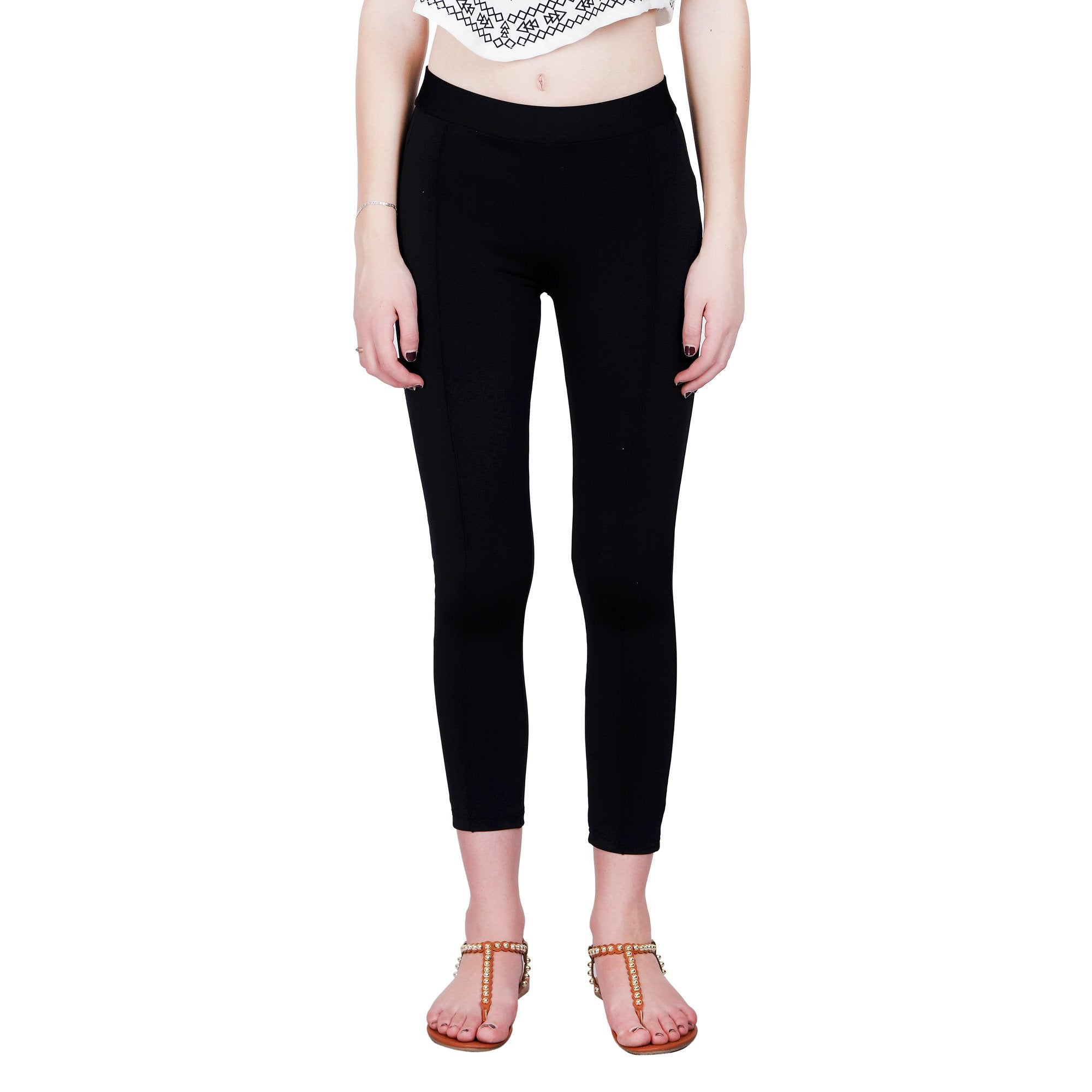BLACK SOLID JEGGINGS - ZOMO